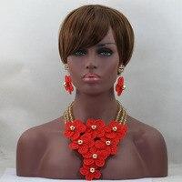 Newest African High Quality Costume Jewellery Sets Gold Nigerian Wedding Crystal Beads Jewelry Set Red Flowers Handmade ALJ648