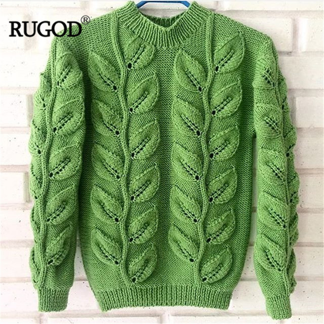 Leaves Pattern Long Sleeve Knitted Sweater 3