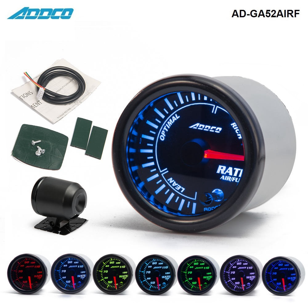 Car Auto 12V 52mm/2 7 Colors Universal Car Auto Air Fuel Ratio Gauge Meter LED With Holder AD-GA52AIRF new arrive 12v 24v universal 2 52mm car motorcycle fuel level meter gauge 8 led light display drop shipping support