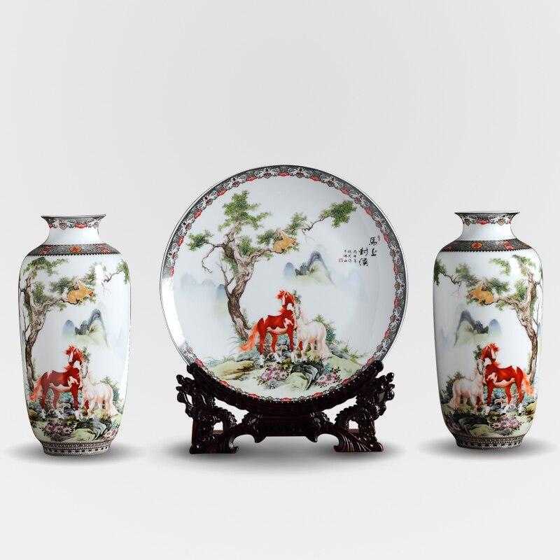 Цзиндэчжэнь античный Керамика ваза и тарелки набор китайские вазы