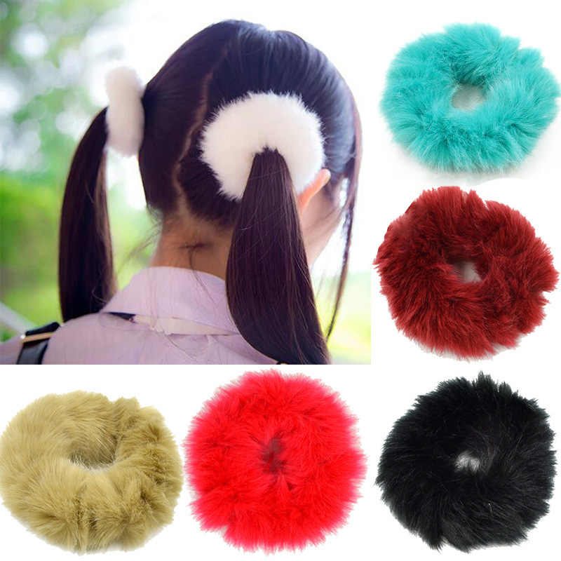 899d7dbe854 Winter Faux Fur Furry Scrunchies Soft Elastic Hair Bands For Women Lady  Solid Headmade Hair Ties