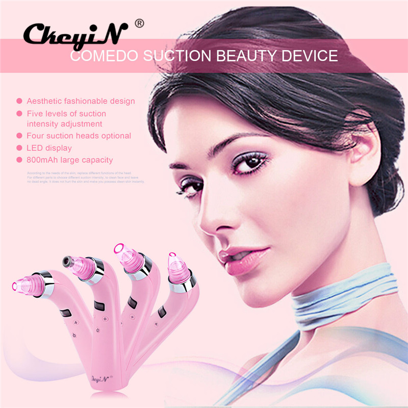 4 IN 1 Vacuum Suction Face Pores Nose Blackhead Cleaner Deadskin Peeling Removal Microdermabrasion Facial Beauty Instruments P00 portable diamond microdermabrasion deep pores cleansing skin peeling exfoliating nose blackhead removal face beauty machine