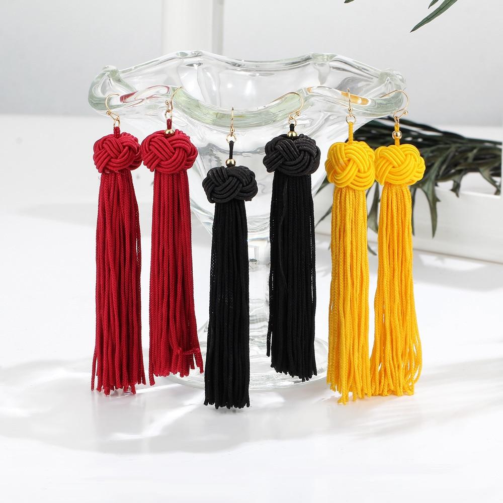 2019 Boho Ethnic Tassel Dangle Earrings For women Black Red Yellow Green Pink Long Cotton Drop Ear hook statement Jewelry