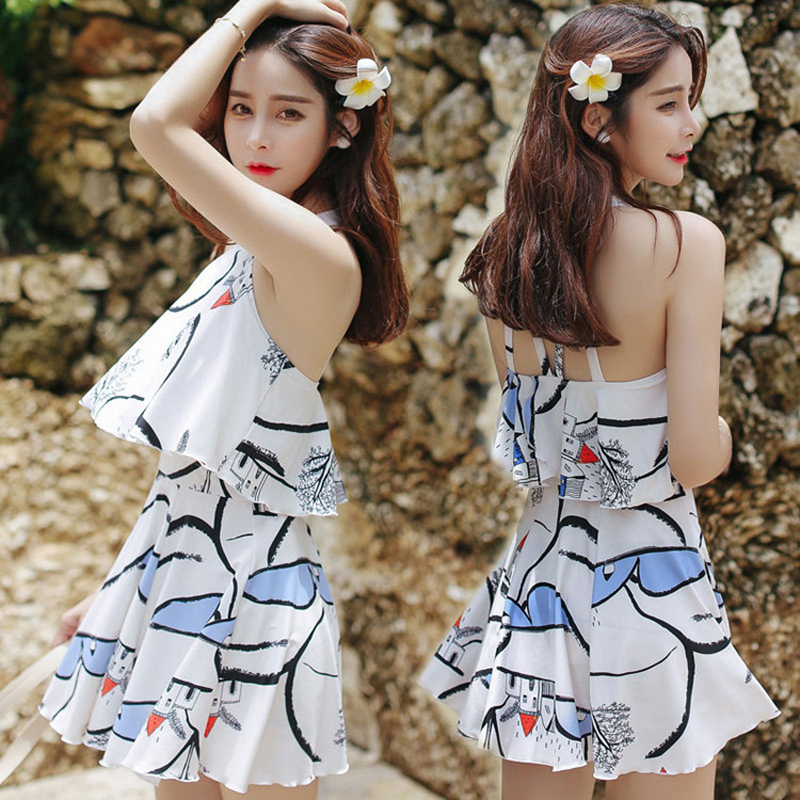 Swimming Suit For Women Swimwear One Piece Female May Beach Girls Bikinis Woman Skirt Push Up Korean Mayo Maio Costume Da Bagno cheap sexy bathing suits may beach girls bikinis women woman one piece swimsuit 2017 korean new leaf lace pink bayan mayo traje