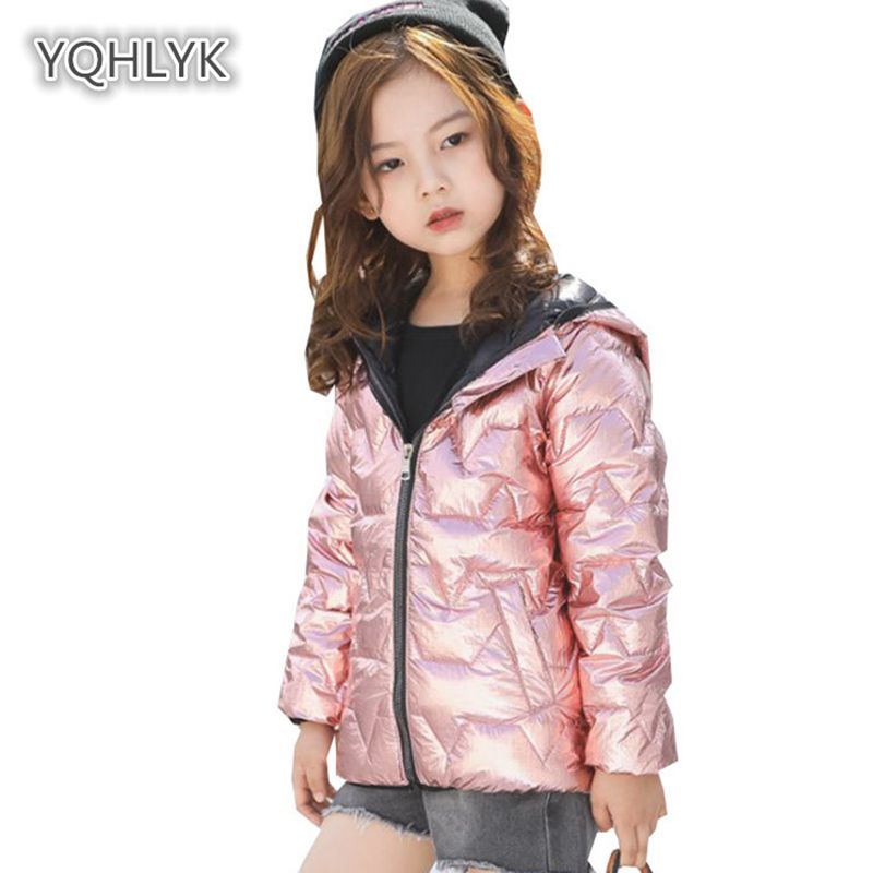 Children autumn Winter Girl Down Jacket Light Hooded Warm Boy coat Short kids Silver Parkas Cotton Outerwear & Coats LK126 2017 winter women jacket down new fashion long sleeve hooded thick warm short coat slim big yards female autumn parkas ladies242