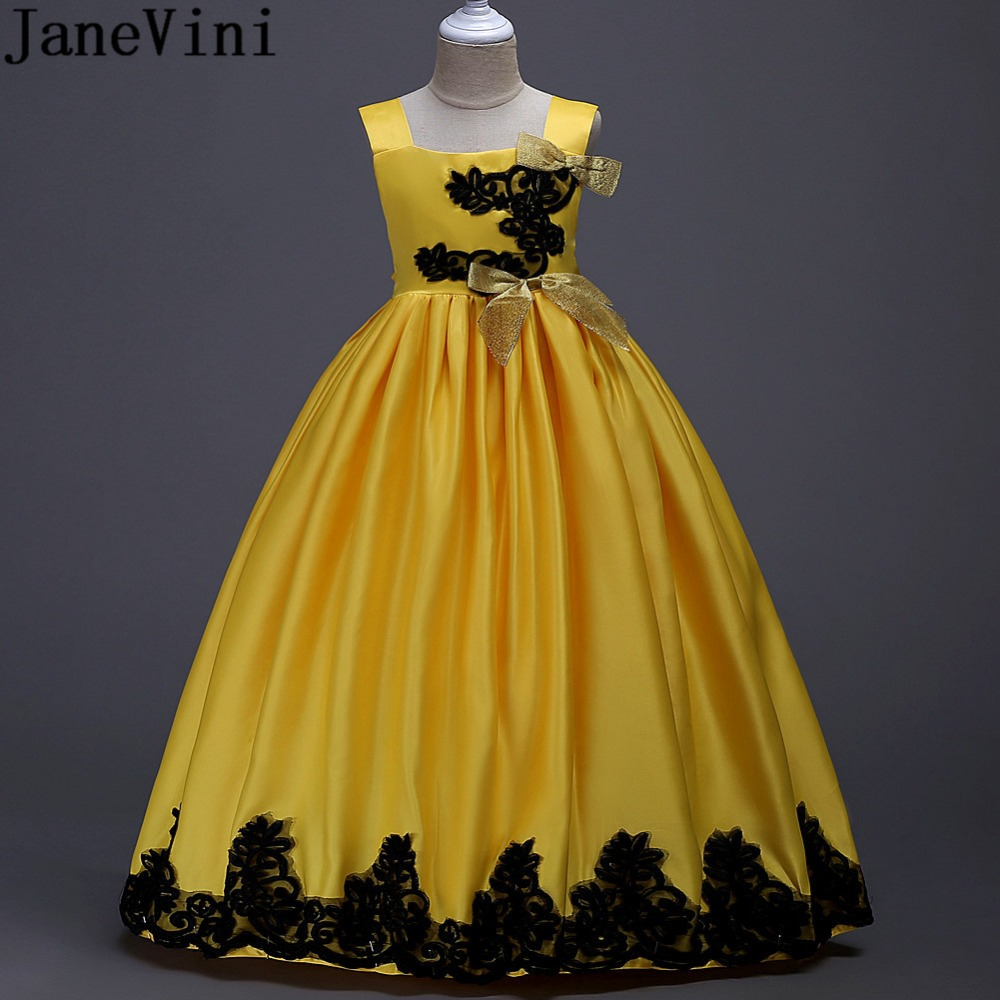 JaneVini Black Lace   Girls   Party Prom   Dress   Satin Bow   Flower     Girl     Dresses   For Wedding First Communion   Dresses   Floor Length Gowns