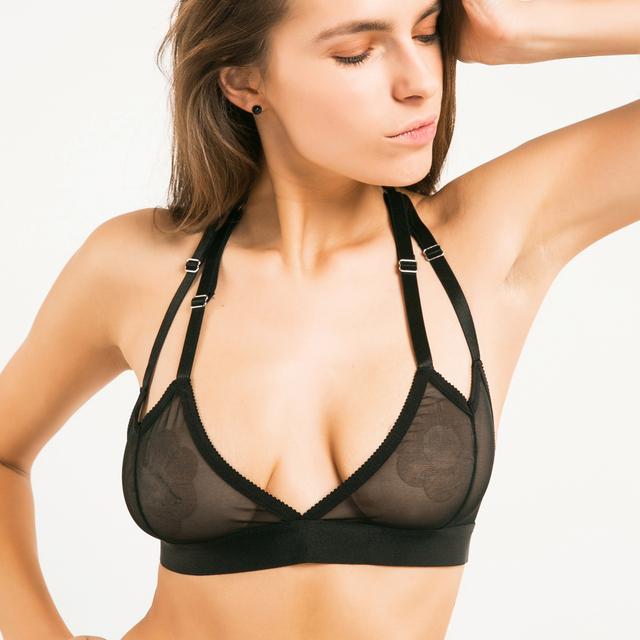 Missomo 2017 New Fashion Women Black Sexy Push Up Lace Adjustable Straps Bralette Semi-sheer Underwear Wireless Halter Soft Bra