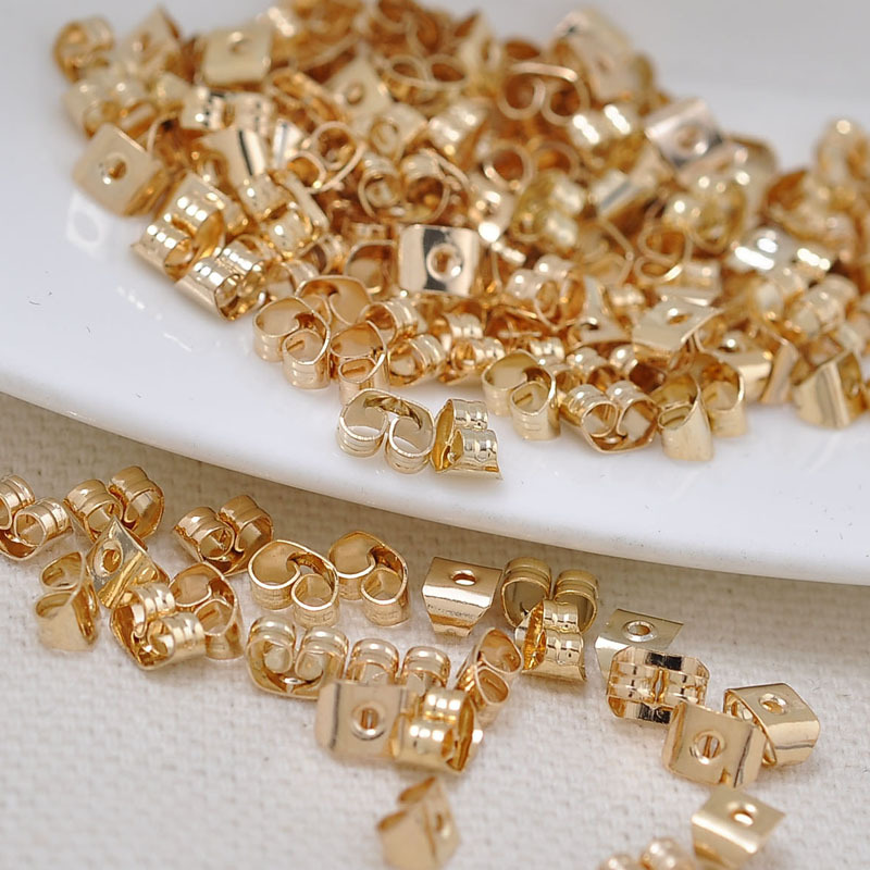 100PCS 5*3.8MM 24K Champagne Gold Color Plated Brass Stud Earring Back Stopper For Diy Jewelry Making Findings Accessories