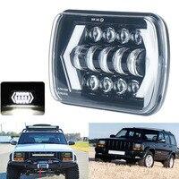 Car 7 Inch Square White Running Light Turn Signal Conversion LED Headlight Angel Eye For Jeep Wrangler Toyota Chevrolet
