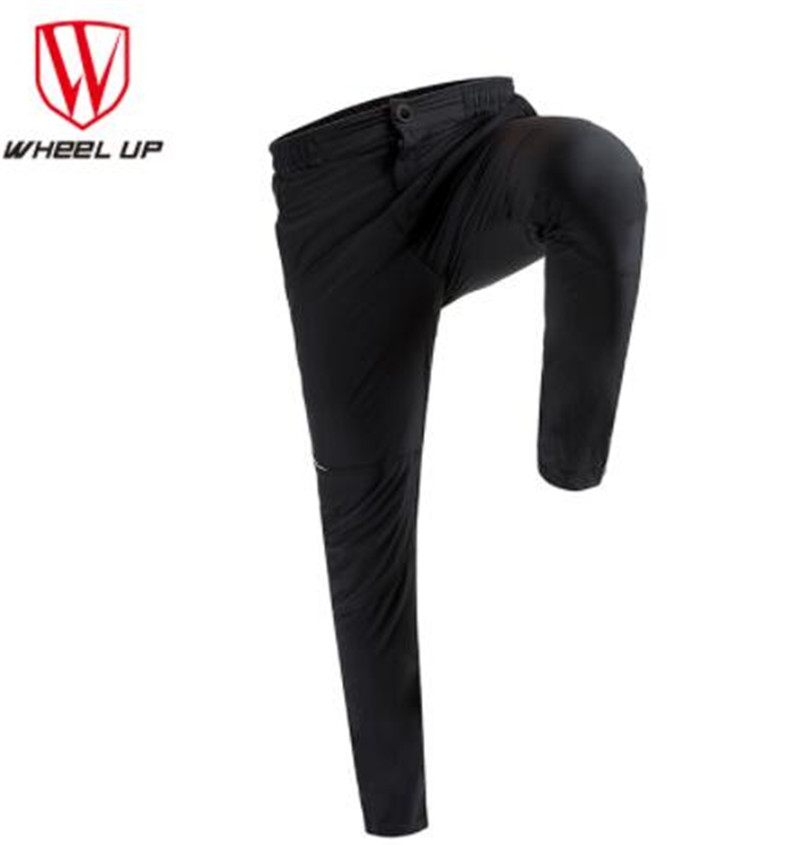 WHEEL UP Spring Autumn Men Cycling Pants Cycling Clothing Long Bike Pants Quick Dry Anti-sweat Breathable Pockets Bicycle Trouse