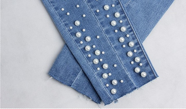 New Women Cotton Pearl Denim jeans