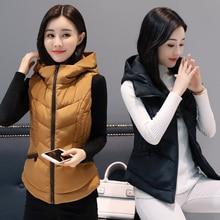 New Autumn Winter Women Vest Casual Cotton Waistcoat Female Warm Hooded Vest Sleeveless Jackets Colete Feminino цена