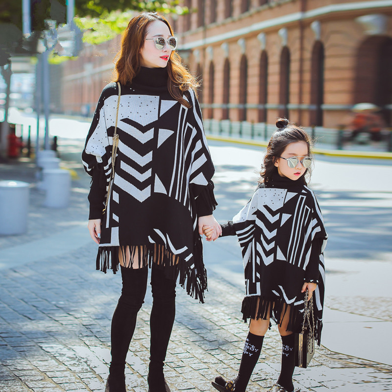 Mommy and Me Mother Daughter Dresses Tassel Striped Sweaters Knitted Coat Shawl Cloak Twins Clothing Little Sister Girls Clothes цены