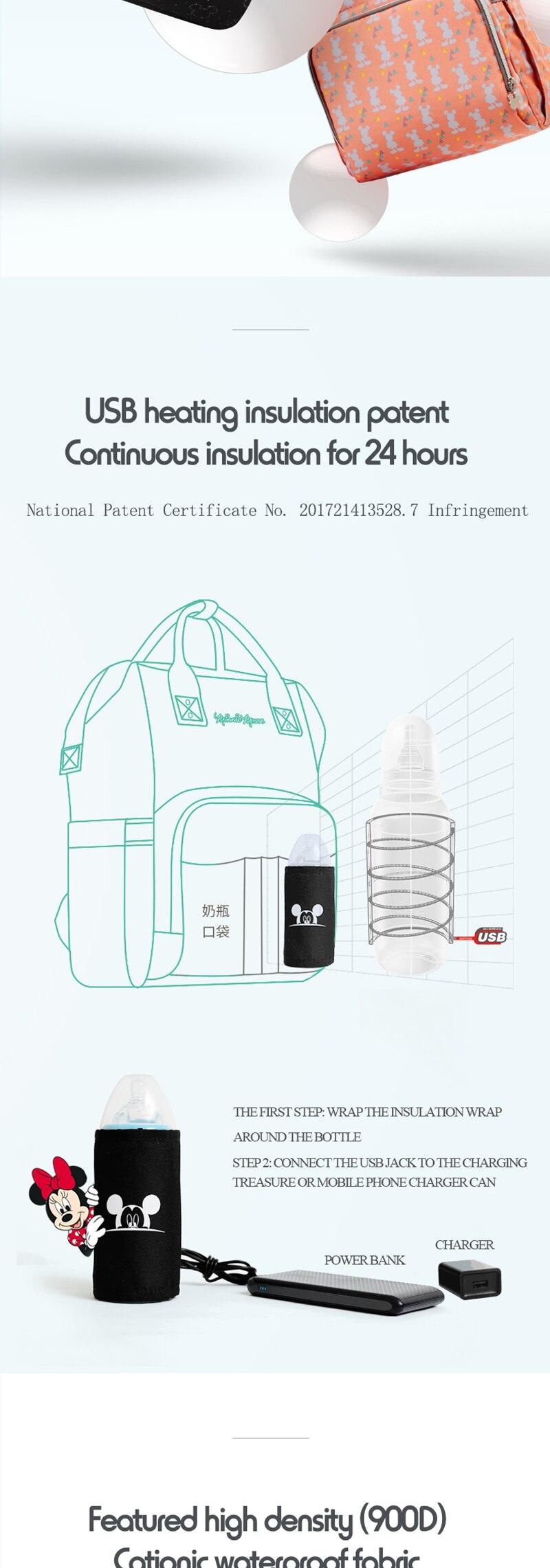 HTB1BhoYg9zqK1RjSZFpq6ykSXXaw Disney Diaper Bag Backpack For Moms Baby Bag Maternity For Baby Care Nappy Bag Travel Stroller USB Heating Send Free 1Piar Hooks