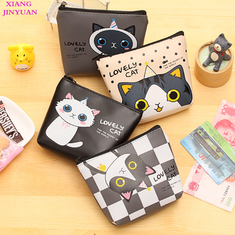 Korean Cute Cat Zero Wallet Waterproof PU Key Holder 2018 New Child Cartoon Printing Letter Kids Wallet Girls Kawaii Animal Bag