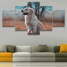 Golden Retriever 5 Piece Canvas HD Print Animal Painting Wall Art For Living Room Modern Decor