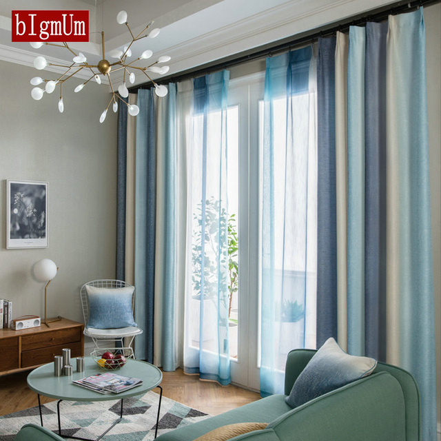 Striped Blackout Curtains For Living Room Rainbow Colorful Children Bedroom Sheer Curtain Kid Window Cortinas Panel Fabric Blind