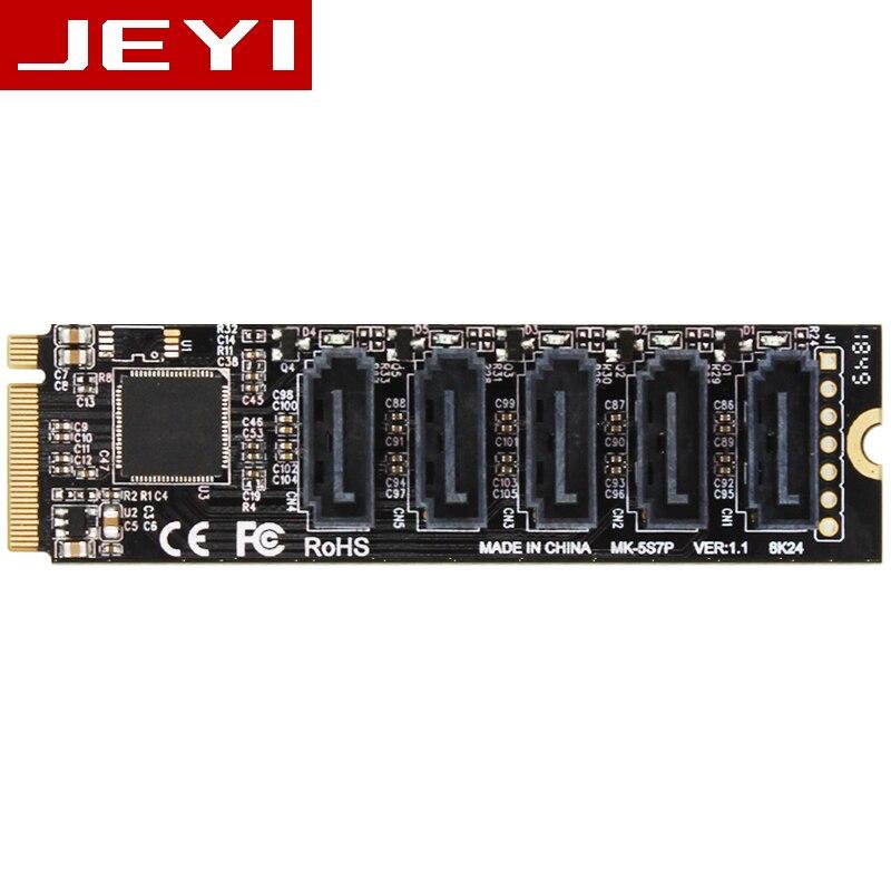 JEYI JMS585-Slim JMS585 5 Port SATA 5 * sata 5 2xsata M. 2 nvme à sata pci-e à PCIE sata disque tableau 5 CARTES RAID0 RAID1 RAID10 U2