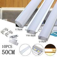 10 Uds. Luces LED de barra de 30/50cm soporte de canal de aluminio accesorios de iluminación con forma de U/V/YW para tira de luces LED