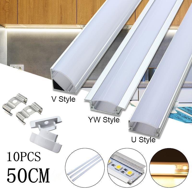 10PCS 30/50cm LED Bar Lights Aluminum Channel Holder Cover End Up Lighting Accessories U/V/YW-Style Shaped For LED Strip Light