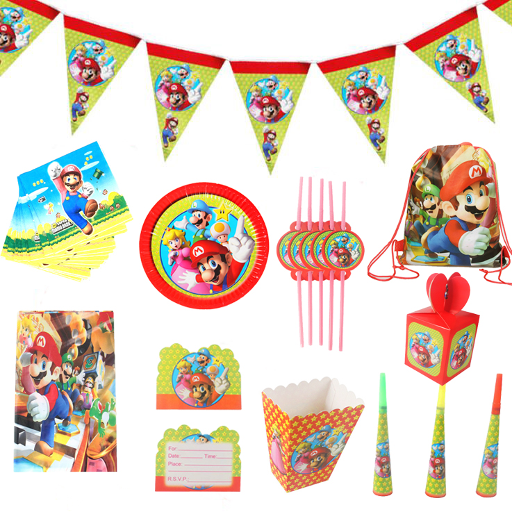 Super Mario Theme party paper plate cup napkin banner tablecloth candy box card straw kids boy happy Birthday Party Decor