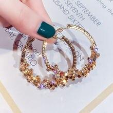FYUAN yuvarlak geometrik Hoop küpe kadınlar için 2019 Bijoux Bohemia altın pullu bildirimi küpe moda takı parti hediye