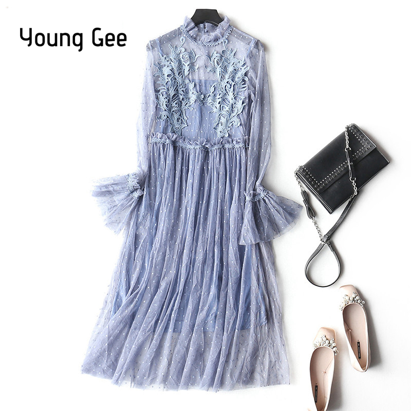 Young Gee Floral Lace Spring Summer Dress Women O-Neck Flare Sleeve Dress 2018 Elegant Office Polka Dots Dress vestidos mujer