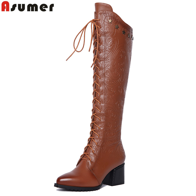 ASUMER 2018 New Winter knee high boots high heels women motorcycle boots lace up pointed toe PU add genuine leather boots shoes daidiesha knee high boots embroidery genuine pu leather women boots in winter square high heels boots sexy pointed toe shoes