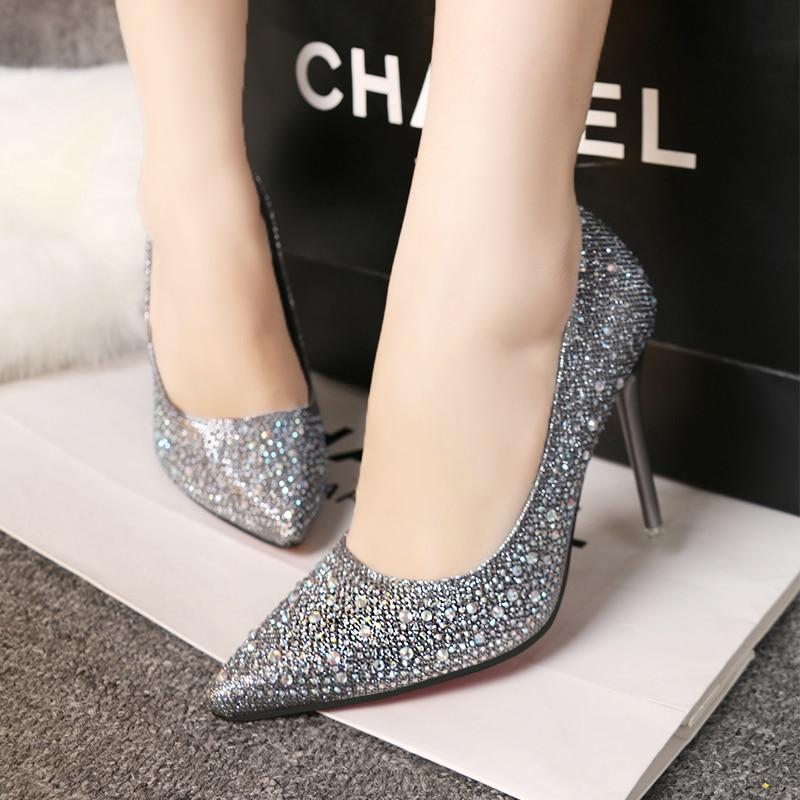 Dames De Chaussures Noir En Pu Pompes 11 argent Talons Clignotant Partie rose Cm bleu Mariage Brillant Cuir Femmes or Haute Femme gris Ruban Cristal x0wS5Sq6f