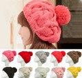 New 2016 Korean Women Winter Hats Girls' Warm Wool Twist Knitted Hat Fashion Beanies For Woman Flowers Cap Accessories Hot Sale