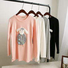 stereo cartoon cute little lamb embroidery long pure cotton T-shirt dress black white pink grey 4 colors