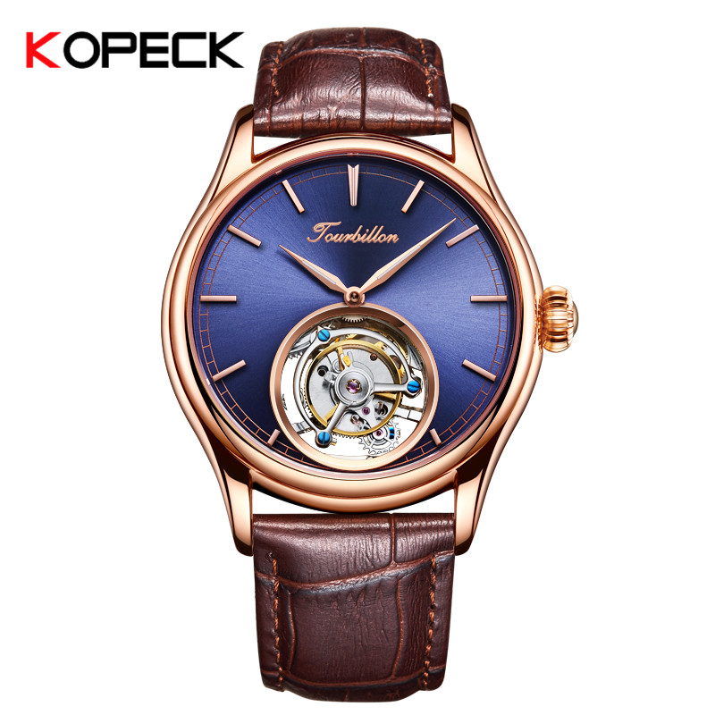 KOPECK Mechanical Watches Mens Watches Top Brand Luxury Mechanical Hand Wind 24K Gold Vacuum Plating Leather
