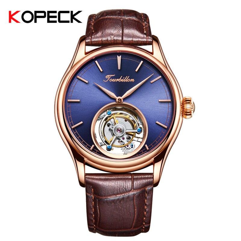 Копейка механические часы мужские часы лучший бренд класса люкс Механический ручной взвод 24 К вакуума золота кожаный ремешок простой 7005 г