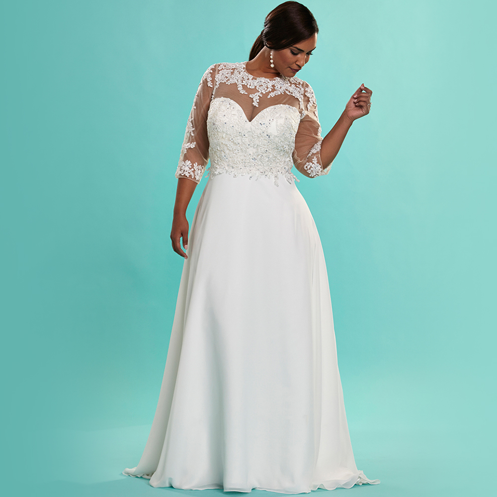 Vintage Ivory Chiffon Plus Size Wedding Dresses With Sleeves Beaded ...