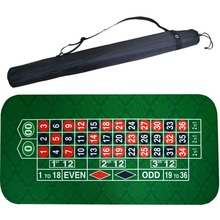 180*90Cm Suede Rubber Square Green Roulette Black Jack Poker Table Mat Gaming Cloth Board with Shoulder Bag