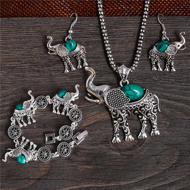 New Arrivals Classic Lovely Elephant Jewelry Set For Women Necklace/Bracelet Pendant/Earrings Per Set Blue Color Ancient Silver