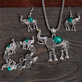 New Arrivals Classic Lovely Elephant Elegant Jewelry Set For Women Necklace/Bracelet Pendant/Earrings Per Set Turquoise Color