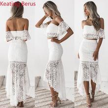 Keating Berus mujeres Sexy encaje tubo Top Halter Vestido corto Tops apretado  vestido largo calado de 78cfeddd615a