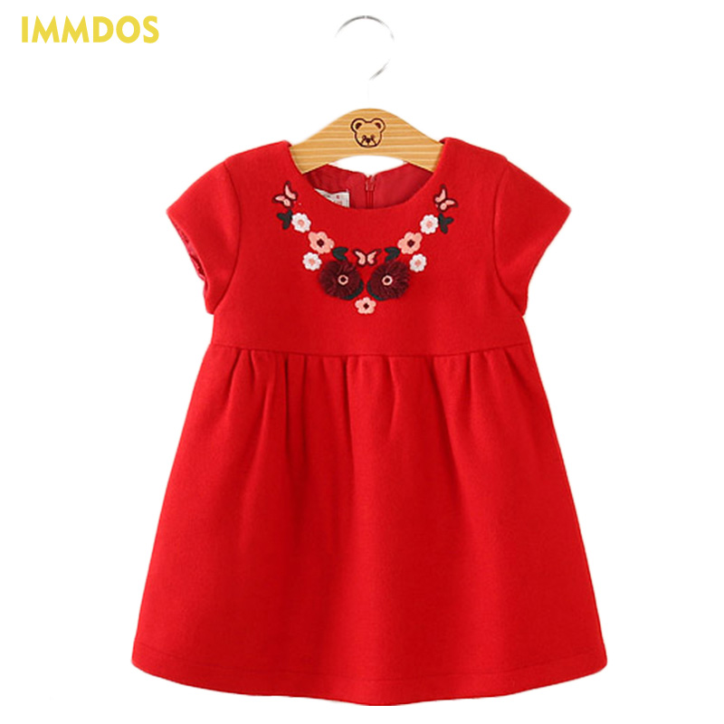 2017 Autumn Winter Dress For Girl Kids O-Neck Embroidery A Line Party Dresses Baby Christmas Dress Children Fashion Clothing retail baby girl clothes casual a line kids dresses full girl party dress pretty pattern girl dress children clothing a1030