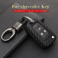 Auto Key Fob Abdeckung Für Chevrolet Orlando Trax Cruze Sonic Onix Volt Tahoe Silverado Styling Carbon Faser Muster Schlüssel Ring fall
