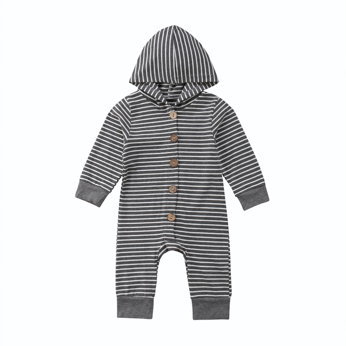 Toddler Fall Winter Baby   Rompers   Infant Boys Girls Stripe Hooded Jumpsuits Fashion Infant Botton Soft Outfits Baby Child Clothes