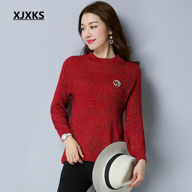 XJXKS Round Neck Brooch Design Women Pullovers And Sweater M XL ...