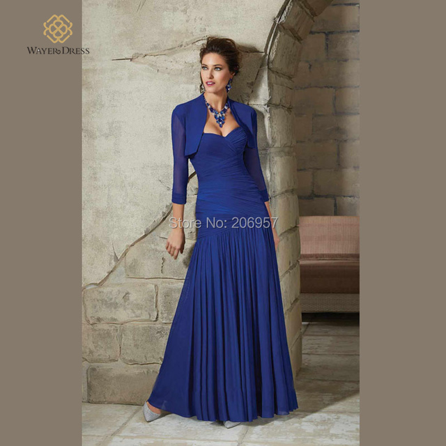 New Arrival Elegant Royal Blue Long Evening Dress Pleated Chiffon Mother of  the Bride Dresses with 3 4 sleeves Jacket Bolero 4ce3f2db684c
