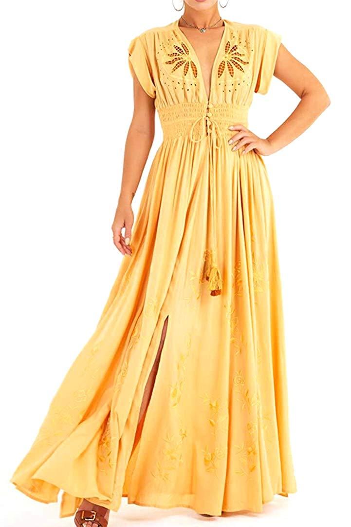 Befily femmes Boho robes jaune goutte épaule broderie creux bouton avant Maxi longue robe