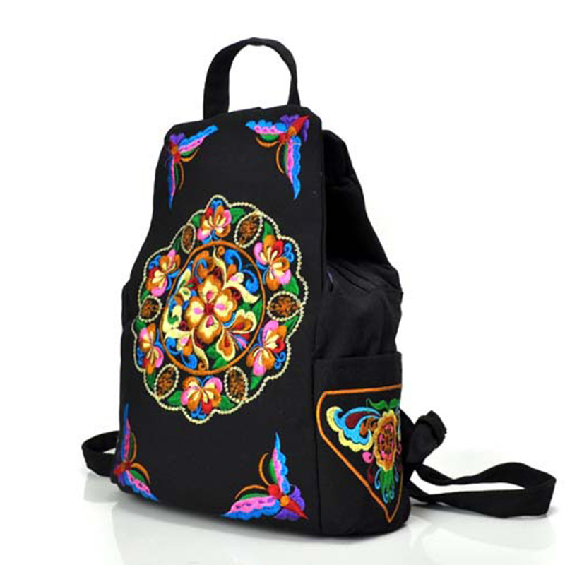 Купить Женские сумки   Vintage Women Backpack Canvas National Floral Embroidery  Girls School Bags Black Rucksack Casual Daypacks Travel Shoulder Bag e5904c091e