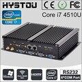 Hystou sin ventilador industrial mini pc windows 7 core i3 i5 i7 2 * intel gigabit nics 6 * rs232 delgado ordenador 300 m wifi 2 * hdmi tv box