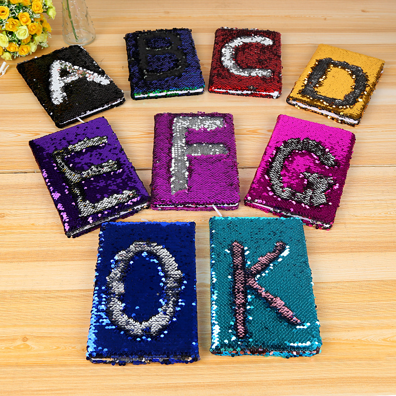 Alphabet Sequin Notebook Colorful Glittering Notebook for Girls A5 Size