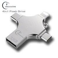 флешка для айфона 16 ГБ 32 ГБ 64 ГБ 128 ГБ 4in1 usb flash drive 16 ГБ Металла otg типа с компьютера flash memory stick для iphone ipad mac смартфон pendrive 16 ГБ флешки