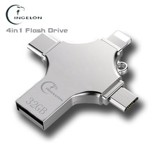 Ingelon Flash Usb gb 32 16 gb USB-C 64 gb 128 gb Pendrive Criptografado do Tipo C LOGOTIPO DIY micro USB memory Stick para o iphone ios telefones otg