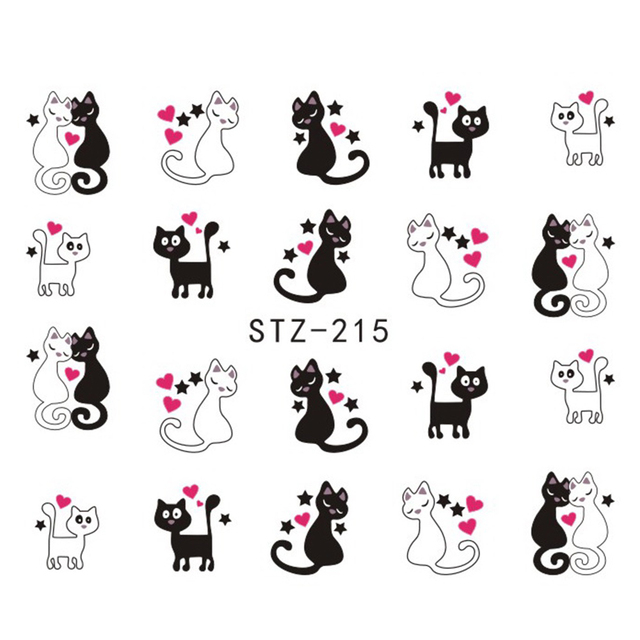 1 Hojas 2017 Corazón Rojo Precioso Gato Lindo Patrón Nail Art Wraps de Transferencia de Agua Pegatinas DIY Styling Herramientas STZ215/230
